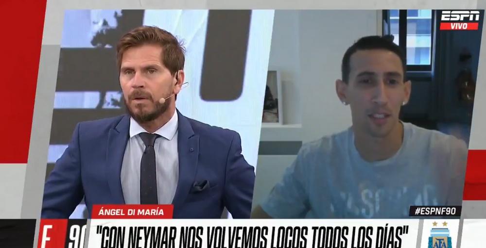 Di María bromeó sobre Neymar. Captura/ESPN