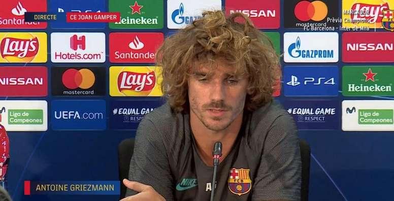 Griezmann spoke to the press ahead of Barcelona's UCL clash. Screenshot/BarçaTV