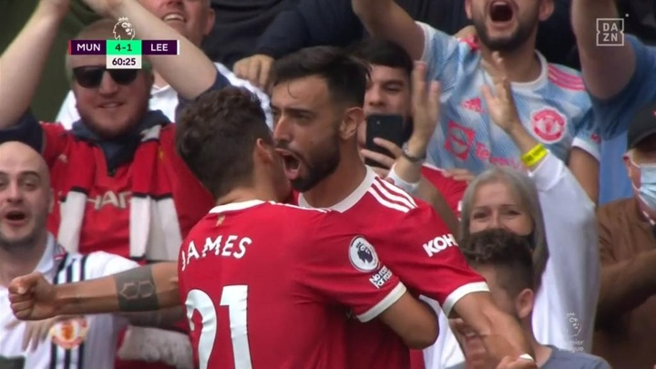 El United puso el 4-1 en un visto y no visto. Captura/DAZN