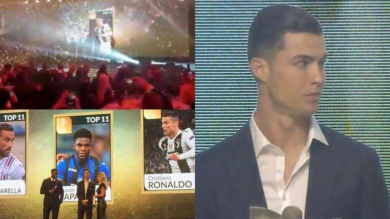 Mientras Messi celebraba el Balón de Oro... Cristiano recogía su premio. Twitter/GranGalaAIC