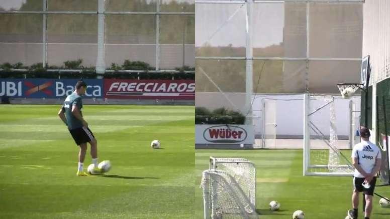 Cristiano, una canasta y la explicación del 'siuu'. Twitter/JuventusFC