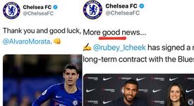 A polémica saltou no Twitter do Chelsea. Captura/ChelseaFC