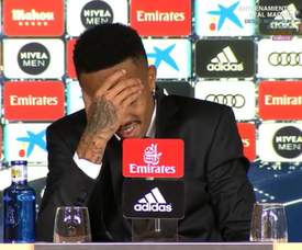 Militao was feeling unwell during the press conference and had to leave. Captura/RealMadridTV