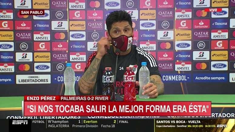 Enzo Pérez no quiso hablar del VAR. Captura/ESPN