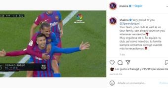 Shakira elogió a Gerard Piqué tras rebajarse el salario en el Barcelona. Instagram/Shakira