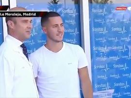 Hazard já está em Madrid para ser apresentado. Captura/Gol