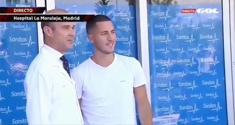 Hazard llegó a la clínica para pasar el reconocimiento. Captura/Gol