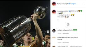 Armani se acordó de Atlético Nacional. Instagram/Francoarmani34