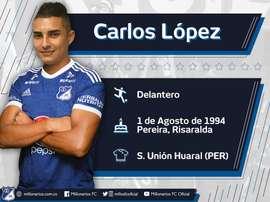 Carlos López es nuevo jugador de Millonarios. Millonarios