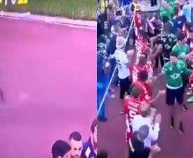 Coentrao se salió del pasillo que le realizó el campeón a su equipo. Captura/SportTV