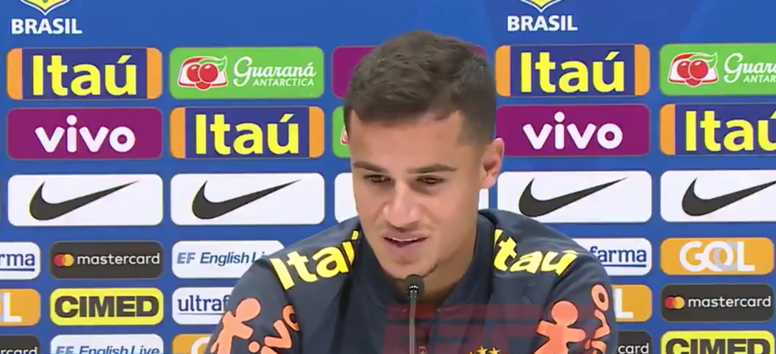 Coutinho regretted the absence of Messi. Captura/ESPN