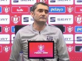Valverde esteve na conferência de imprensa de antevisão à final da Taça do Rei. Captura/GOL