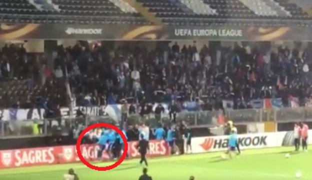 Evra was sent off after kicking a Guimares fan. Twitter