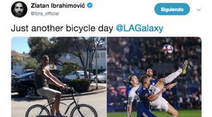 Ibrahimovic vaciló de chilena en las redes. Twitter/Ibrahimovic