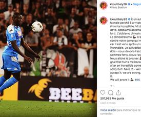 Koulibaly fait ses excuses aux supporters après son contre son camp. Instagram/Kkoulibaly26