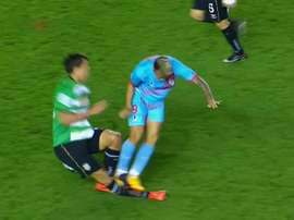 Conteras was sent off for this horror challenge. Twitter/FOXSports