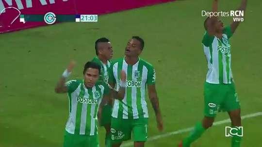 Rentería adelantó a Nacional gracias a un pase de Vladimir Hernández. Captura/RCN