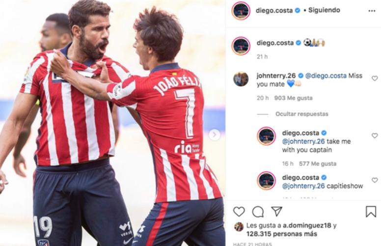 Costa intercambió guiños con Terry. Instagram/Diego.Costa