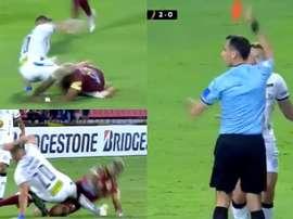 Esto es la Libertadores: rodillazo en la entrepierna y expulsión. Captura/FOXSports