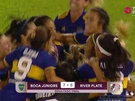 Boca goleó a River. Captura/TNTSports