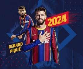 O Barça anuncia as renovações de Piqué, Ter Stegen, De Jong e Lenglet. Twitter/FCBarcelona_es