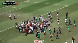 Lamentable: batalla campal entre juveniles en Brasil. Captura/SPFCTV