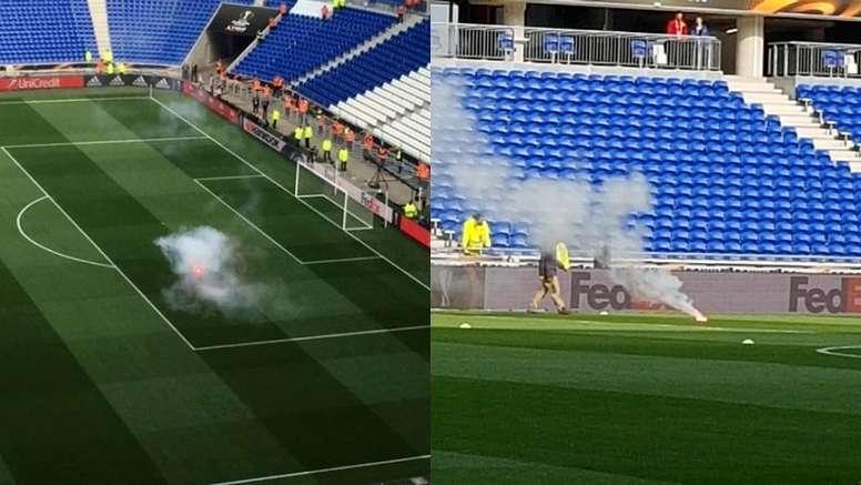 Plusieurs supporteurs ont lancé des fumigènes sur la pelouse du Groupama Stadium. Capture/RMC