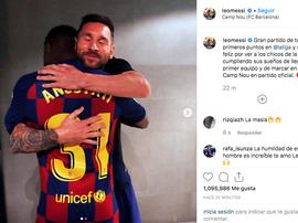 A mensagem de Messi a Ansu Fati. Instagram/LeoMessi