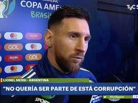 Messi prestou declarações depois de ser expulso. Captura/TyCSports