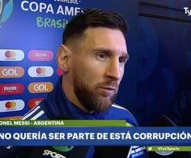 Messi al veleno al termine della gara. Captura/TyCSports