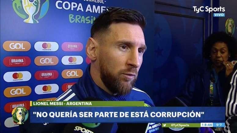 Messi a eu des mots forts en zone mixte. Capture/TyCSports