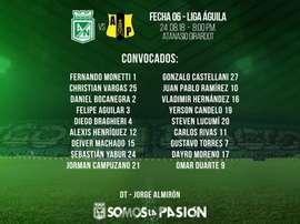 Almirón eligió a 18 jugadores para la cita ante Alianza Petrolera. Nacional