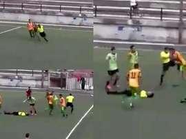 Los jugadores persiguieron al árbitro hasta pegarle. Captura