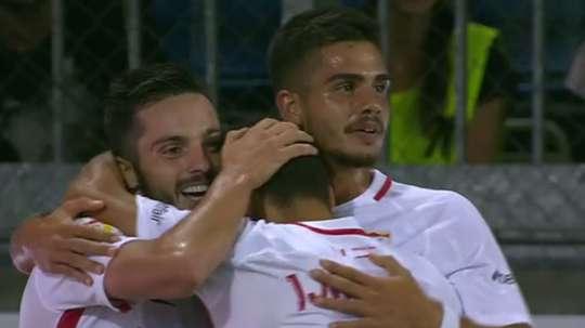 Pablo Sarabia a marqué le but de la victoire. Captura/MovistarLigadeCampeones