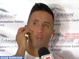 Lucas Barrios se acordó de Klopp. Captura/ESPN
