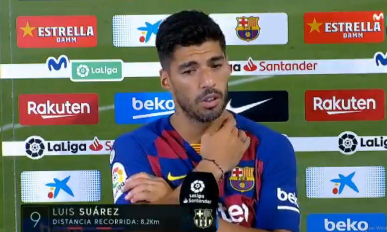Luis Suárez défend Griezmann. Captura/Movistar