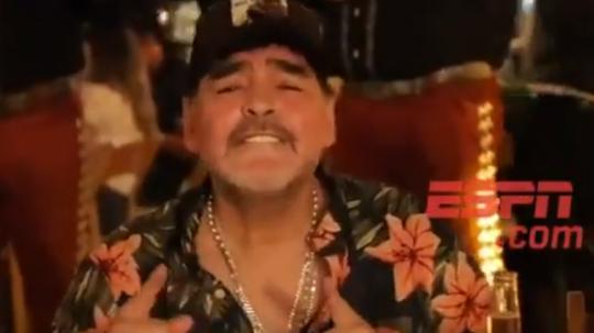 Maradona celebró por todo lo alto su cumpleaños. Captura/ESPN
