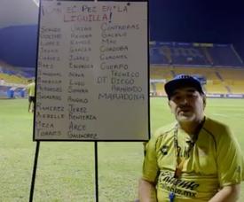 Maradona pidió el apoyo de su afición. Captura/Dorados