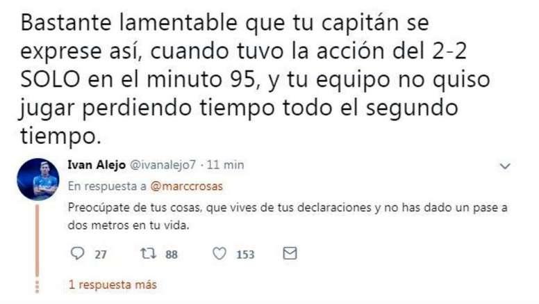 Marc Crosas atizó con dureza a Jorge Molina. Twitter