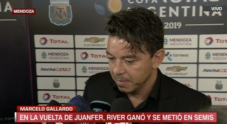 Gallardo, satisfecho con el trabajo de sus futbolistas. Captura/ESPN