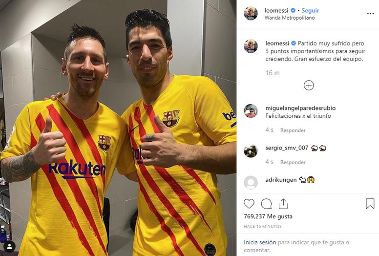 La photo de Messi après la victoire au Wanda. Instagram/LeoMessi
