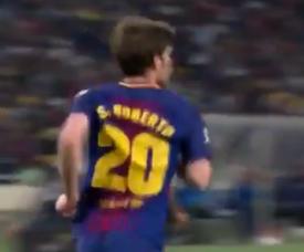 Sergi Roberto a joué malgré la sanction. Capture/FCB