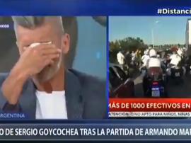 Las lágrimas de Sergio Goycochea al recordar a Maradona. Captura/TelevisiónPublica