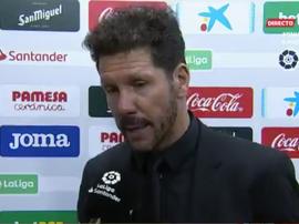 Simeone falou sobre o empate contra o Villarreal. Captura/GOL