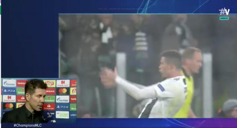 Cristiano hizo un gesto similar al de Simeone. Captura/Vamos