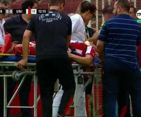El jugador de Unión acabó en el hospital. Captura/TNT