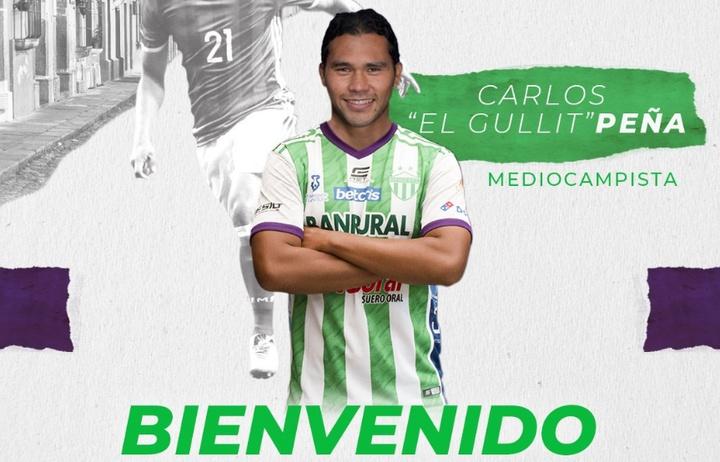 Antigua anuncia el fichaje de Carlos 'Gullit' Peña. Twitter/soyantiguagfc