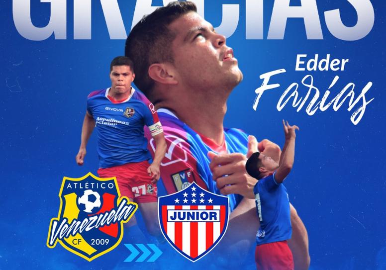 Edder Farías, cedido a Junior. AtléticoVenezuela
