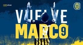 Marco Ruben regresa a Rosario Central. CARCoficial