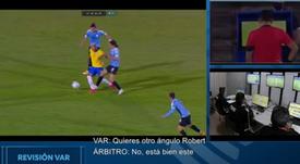 CONMEBOL publica o áudio da expulsão de Cavani no Uruguai x Brasil. Captura/CONMEBOL
